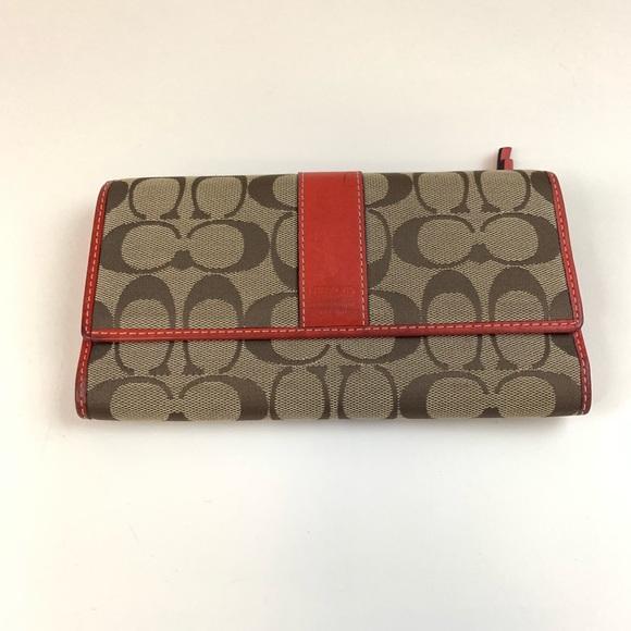 Coach Handbags - Coach Womens Wallet Trifold Signature C Button